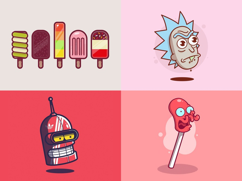 2018 Top 4! futurama rick and morty cartoon movie tv design icon character vector texture illustration