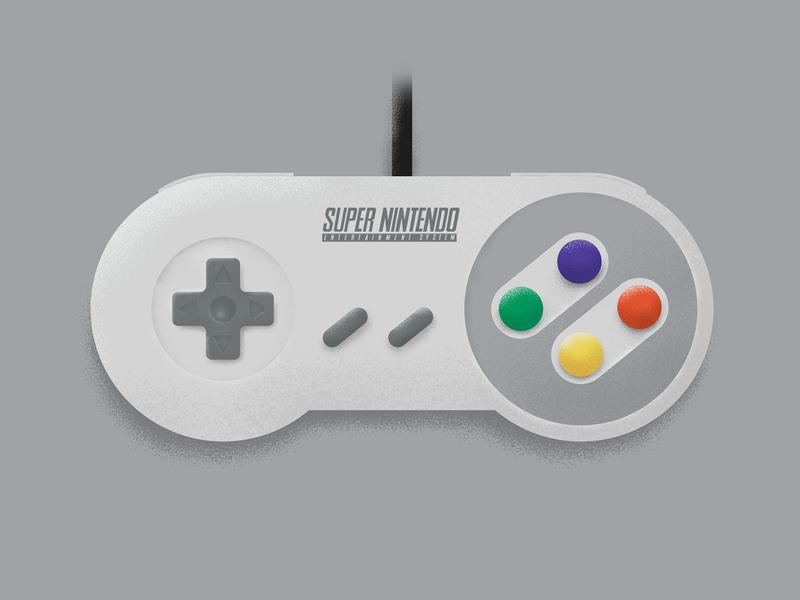 SNES Controller player controller vintage design icon texture vector illustration gaming retro nintendo snes