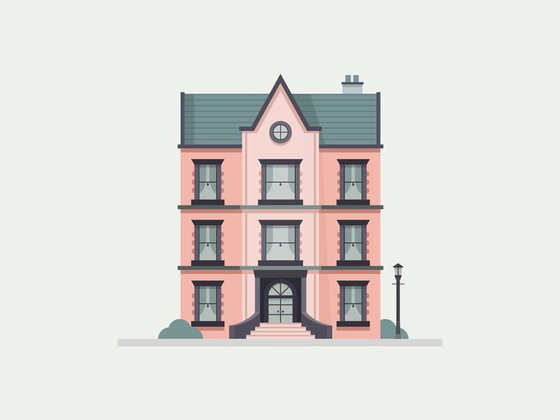 Pink House city estate agent building texture house movie design illustration vector