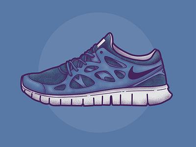 Nike Free Run 2 branding clothing nike shoe trainer sneaker design texture vector illustration