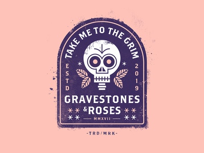 Gravestones & Roses beer branding drinking death skull drink logo beer label drink label badge beer texture vector illustration
