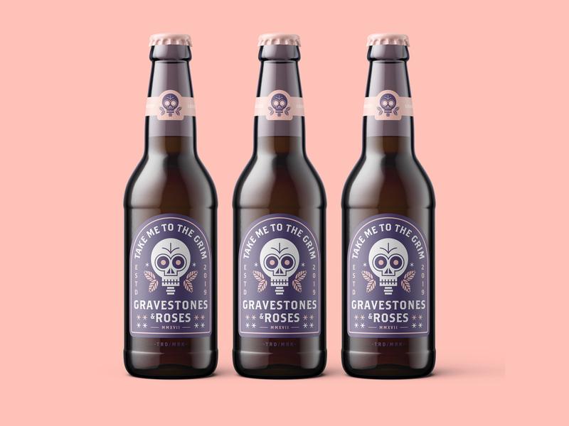 Gravestones & Roses Label Mockup badge logo badge bottle drink beer skull character vector illustration design texture branding