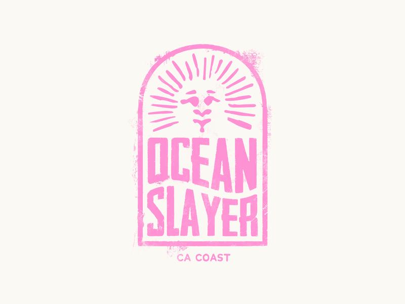 Ocean Slayer logo badge logo surfing icon badgedesign badge design texture vector illustration surf