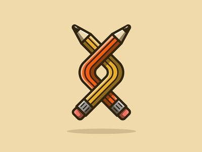 Twisted Pencils fun pen and ink branding logo icon pencil design texture vector illustration