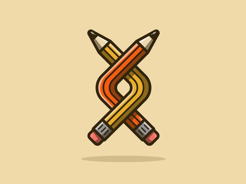 Twisted Pencils fun pen and ink branding logo icon pencil design texture vector illustration