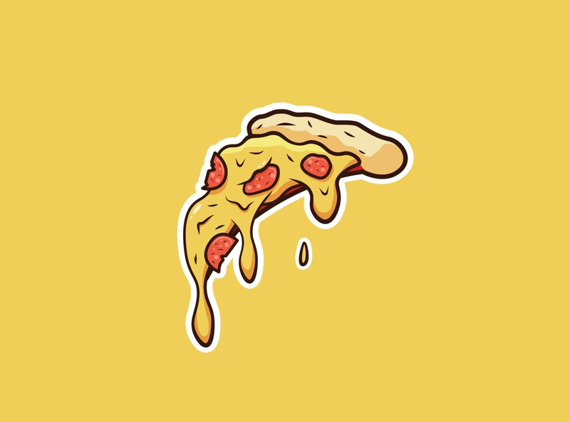 Pizza! 🍕 love italy branding icon slimy drip tasty food pizza design texture vector illustration