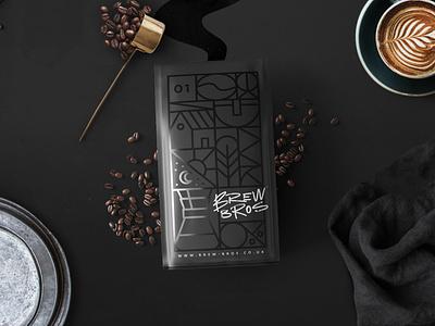 Brew Bros Coffee Roasters packaging roasters typography logo menu drink icon illustration brand branding coffee design texture vector