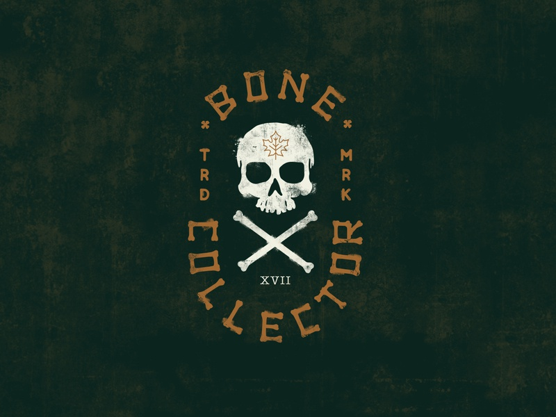 Bone Collector bones typogaphy skeleton skull logo badge logo badge character icon design texture vector illustration