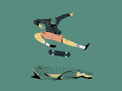 Shred Gator 2d design illustration