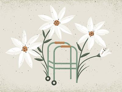 Honor Age aging flowers walker design illustration