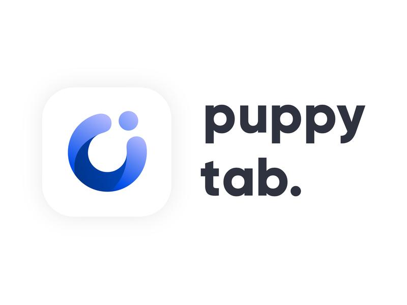 puppy tab vector design naming idenity typogaphy logotype logo mark gradient web type app icon branding logo app