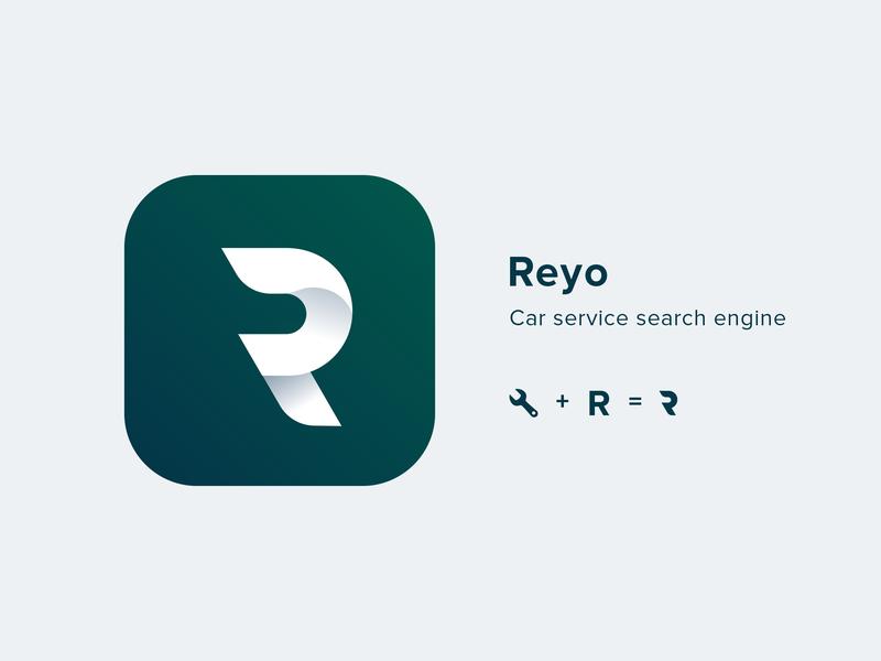 Reyo - logo & naming brand graphic design gradient logo gradient icon idenity app app icon vector gradient illustration car service branding naming logotype gradient green mark service car repair logo