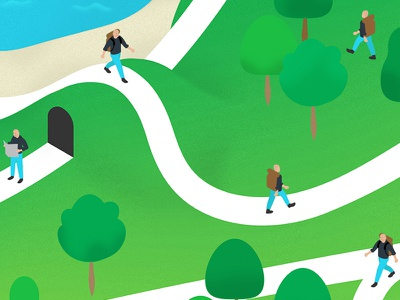 The Adventure of a Career in Tech series forest people avatar isometric map vector drawing illustration