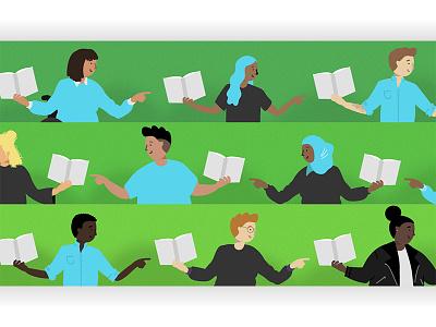 Book Club! book club book inclusion diversity vector illustration