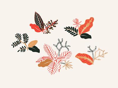 Plant Motifs red floral motif illustration pattern drawing leaf plant