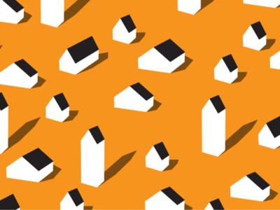Tiny Little Houses mini homes orange house repeating vector illustration pattern