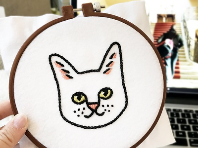 Meow embroidery! cross stitch embroidery kitten meow cat