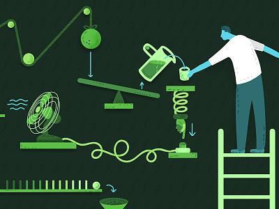 Rube Goldberg Machine doodle machine rube goldberg vector illustration