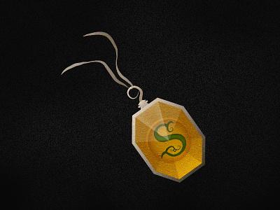 Slytherin's Locket s snake gem icon vector illustration horcrux harry potter
