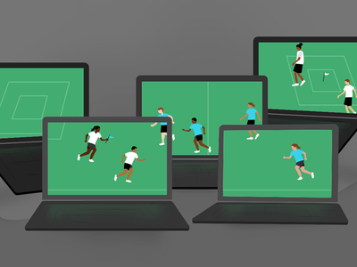 Capture the Flag computer laptop security soccer capture the flag drawing vector illustration