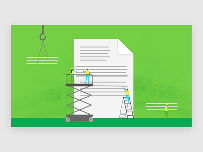 Ppl at work scale building document little people drawing vector illustration