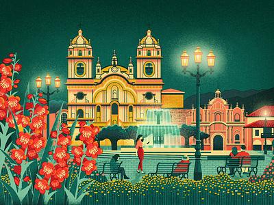 Cusco - Culture Trip midcentury travel trip fountain plaza travel illustration peru cusco