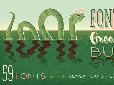Fontacular | Fairytale Field Guide field guide vintage retro specimen storybook serpent sea serpent magic sea monster king fairytale