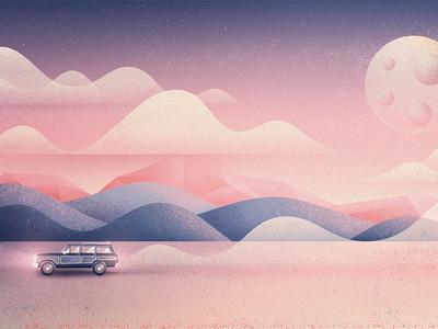 Fernweh adventure fernweh dusk dust road clouds mountains moon trip wagoneer desert camping