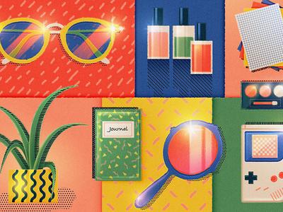 90s patterns journal sparkle mirror childhood makeup sunglasses aloe gameboy paper nineties 1990s