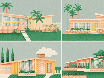 Mid-century Bungalows modern mid-century modern neighbourhood houses picket fence trees palm tree yard architecture homes bungalows midcentury