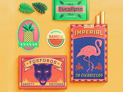 Tropical Ephemera fruit candy sticker vintage retro tropicana tropical flamingo pineapple matchbox cigarettes packaging