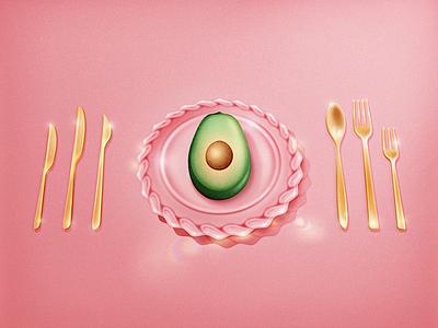 Avocado food plate fancy shiny brunch pink glass cutlery gold millennial avocado