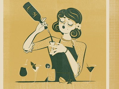 Bartender midcentury retro food martini wine cocktail spirits alcohol bar bartender