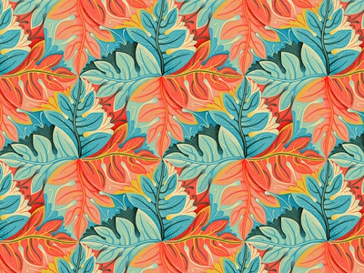 Plant Tesselation flowers fern textile retro tesselation foliage pattern plants leaves
