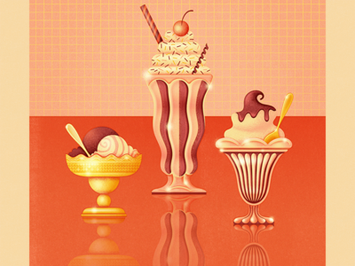 At the Hop strawberry vanilla chocolate retro antique vintage fancy treats shoppe dessert milkshake ice cream