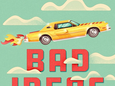 Book Cover WIP 70s retro car canada canadiana daredevil stunt wip book cover rocket car