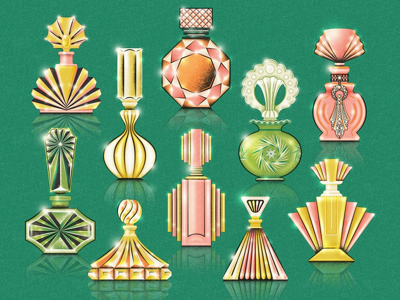 Perfume or Poison? art deco vintage retro trinkets collection jewels sparkle midcentury perfume bottle glass antique