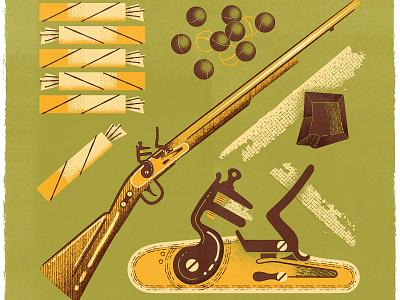 How To Fire A Musket editorial illustration midcentury flintlock flint canadiana antique gun retro vintage musket