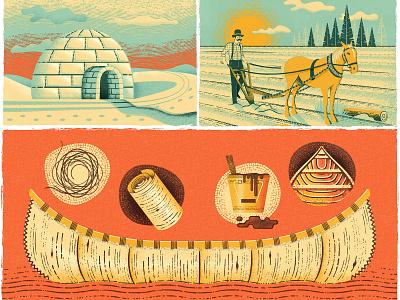 Canada's History Magazine Illustrations texture history survival print diy canoe vintage retro canada canadiana