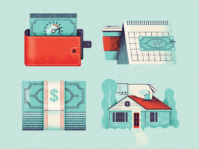 Mortgage Icons mid-century money management calendar cash house wallet retro finance bank home mortage money