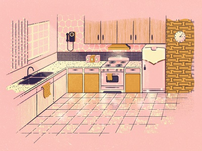 Retro Kitchen stove fridge vintage retro ad pink home 60s 50s magazine illustration appliances midcentury retro kitchen
