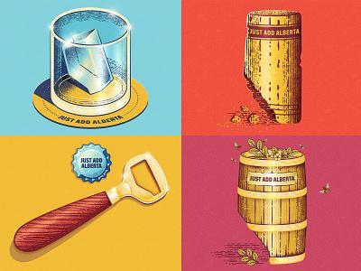 Just Add Alberta ice cube print retro prairies liquor spirits mead wine beer alberta