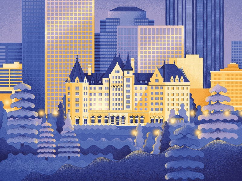Edmonton downtown texture cityscape canada winter skyline macdonald hotel alberta edmonton