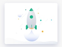 Illustration of a green small rocket