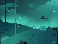 Hillside illustration at night