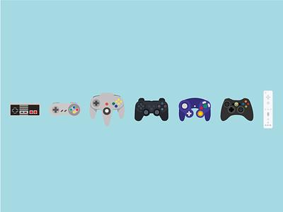 History of Controllers  illustration gaming sega n64 playstation