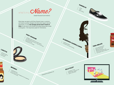 What's in a Name? music illustration magazine layout