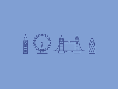 London Town london england uk line icons big ben london eye tower bridge buildings architecture