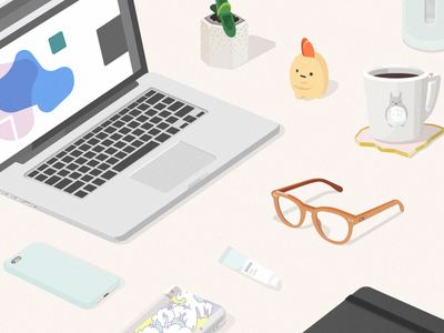 Organized Clutter totoro mint tempura shrimp 3ds iphone laptop workspace desk illustration