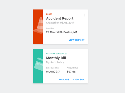 Auto Insurance Cards material mobile bill illustration insurance auto car notifications cards material design